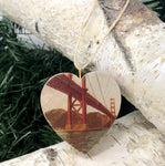 Mini Heart Ornament: Dad's Golden Gate Bridge, Circa 1977 - Hand-Transferred Photo on Wood