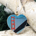 Mini Heart Ornament: International Orange: Golden Gate Bridge - Hand-Transferred Photo on Wood