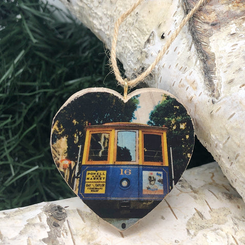 Mini Heart Ornament: Cable Car - Hand-Transferred Photo on Wood