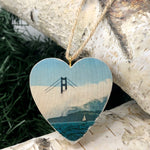 Mini Heart Ornament: Afternoon Fog: Golden Gate Bridge - Hand-Transferred Photo on Wood