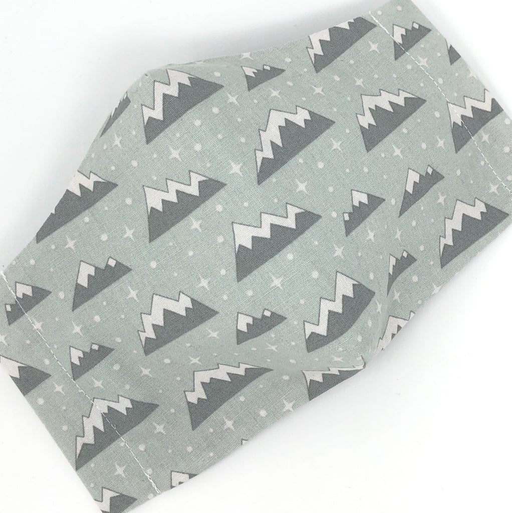 Cloth Face Mask - #228 - Gray Snowy Mountains on Lt Green/Gray