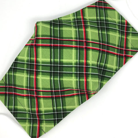 Cloth Face Mask - #266 - Green and Red Diagonal Plaid