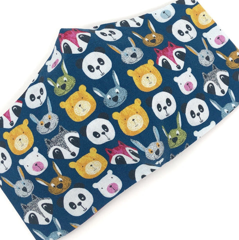 Cloth Face Mask - #215 - Animal Faces on Navy