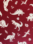 Cloth Face Mask - #236 - White Dinosaurs on Burgandy