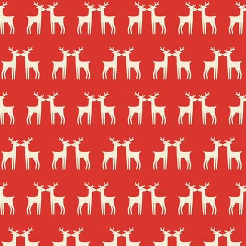 Cloth Face Mask - #208 - Reindeer Silhouettes on Red-Orange