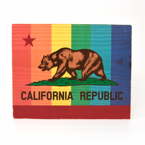 Rainbow Pride California Bear State Flag - Rectangle