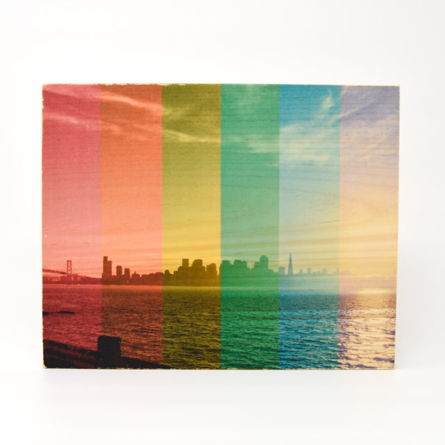 Rainbow Pride: Sunset SF Skyline - Rectangle