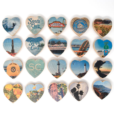 Mini Heart Magnets: Santa Cruz - Hand-Transferred Photos on Wood, Various Images