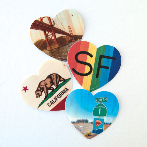 "3"" Heart Sticker - Assorted San Francisco and California Coastal"