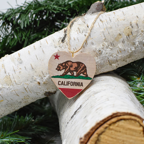 Mini Heart Ornament: California State Bear Flag - Hand-Transferred Photo on Wood