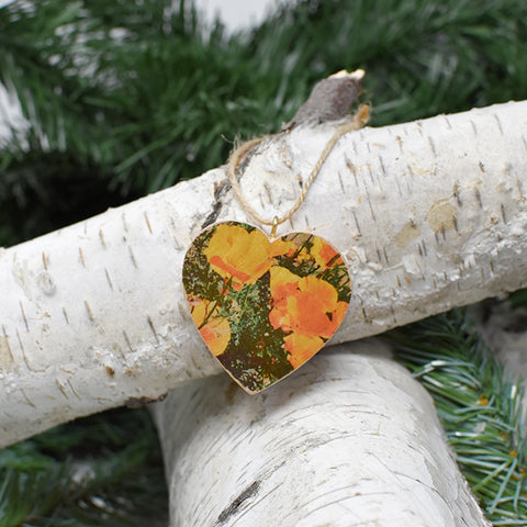 Mini Heart Ornament: Golden Poppies, California State Flower - Hand-Transferred Photo on Wood