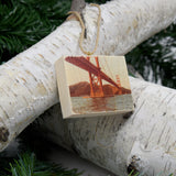 Mini Rectangle Ornament: Dad's Golden Gate Bridge, Circa 1977 - Hand-Transferred Photo on Wood