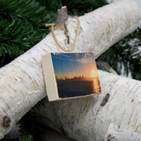 Mini Rectangle Ornament: Sunset View from Treasure Island - Hand-Transferred Photo on Wood