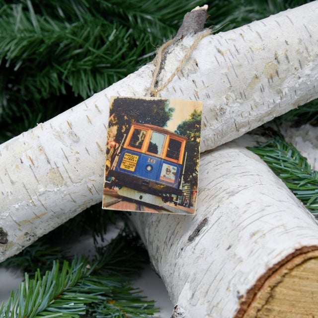 Mini Rectangle Ornament: #16 Cable Car - Hand-Transferred Photo on Wood