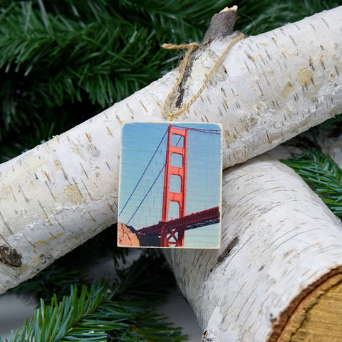 Mini Rectangle Ornament: International Orange: Golden Gate Bridge - Hand-Transferred Photo on Wood