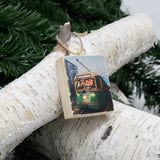 Mini Rectangle Ornament: F Line at Dusk: Street Car - Hand-Transferred Photo on Wood