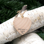Mini Heart Ornament: Warriors Logo - Hand-Transferred Photo on Wood