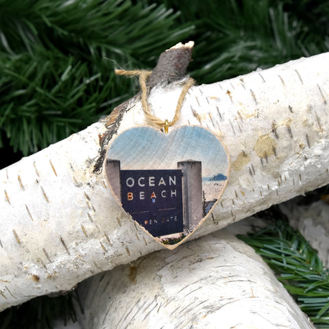 Mini Heart Ornament: Ocean Beach SF Sign - Hand-Transferred Photo on Wood