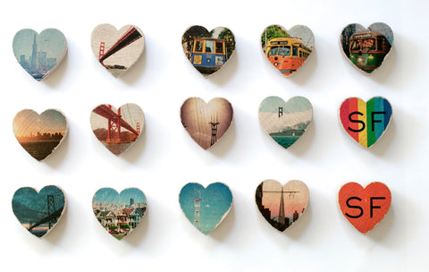 Mini Heart Magnets: SF - Hand-Transferred Photos on Wood, Various Images