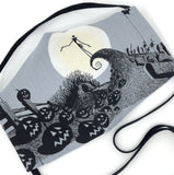 Cloth Face Mask - #178 - Jack Skellington Hill Scene on Lt Gray (Nightmare Before Christmas)