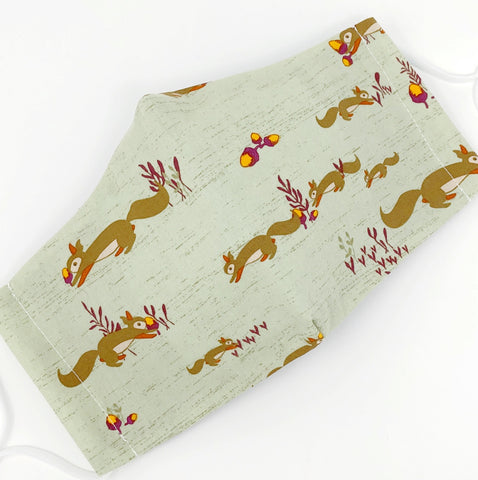 Cloth Face Mask - #198 - Squirrels with Acorns on Pastel Green