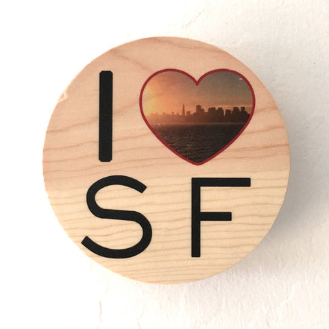 I Heart SF: Sunset San Francisco Skyline - Round