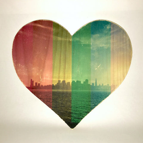 Rainbow Pride: Sunset SF Skyline - Heart