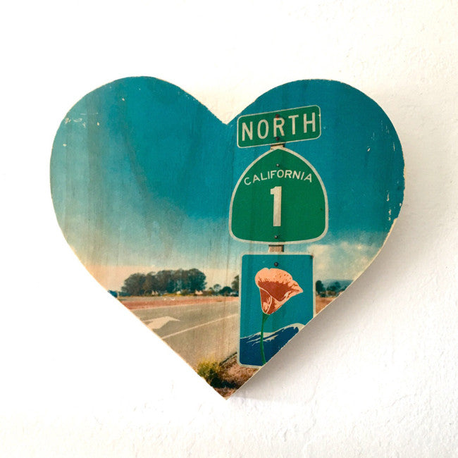Heading North: Highway 1 Poppy Road Sign - Heart