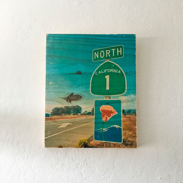 Heading North: Highway 1 Poppy Road Sign - Rectangle