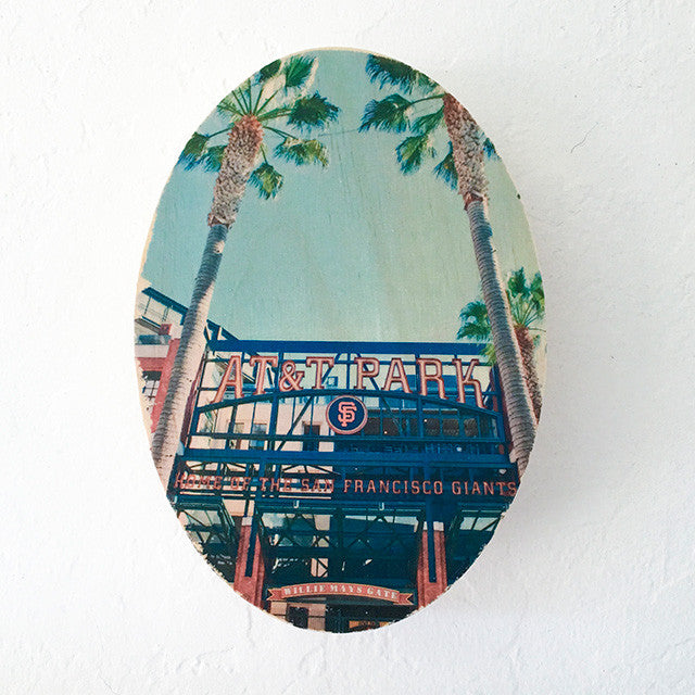 AT&T Park Front View - 5x7 Oval Image on Wood
