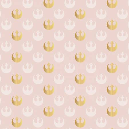 Cloth Face Mask - #125 - Star Wars Rebel Logo - Lt Pink/Gold Metallic