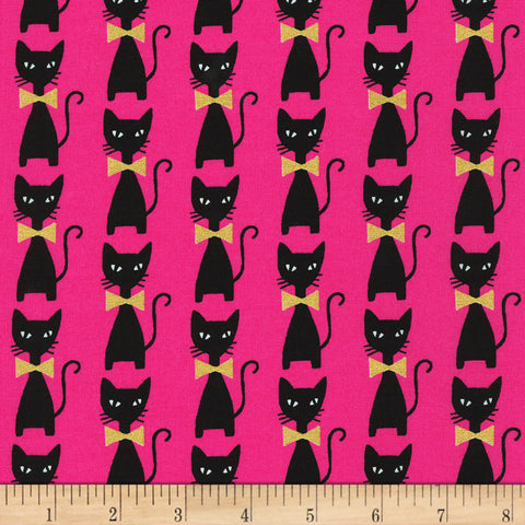 Cloth Face Mask - #133 - Black Cats on Bright Pink