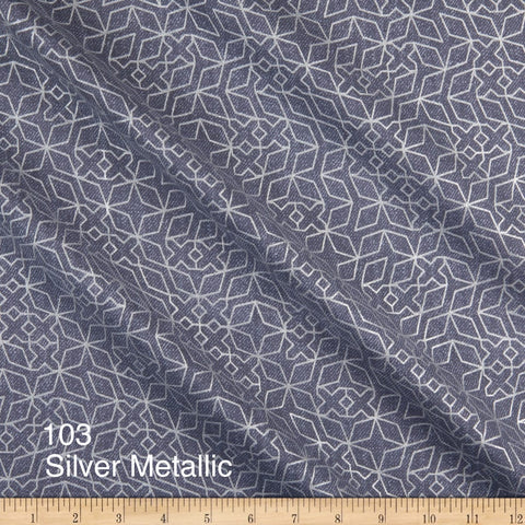 Cloth Face Mask - #103 - Silver Metallic on Slate Blue