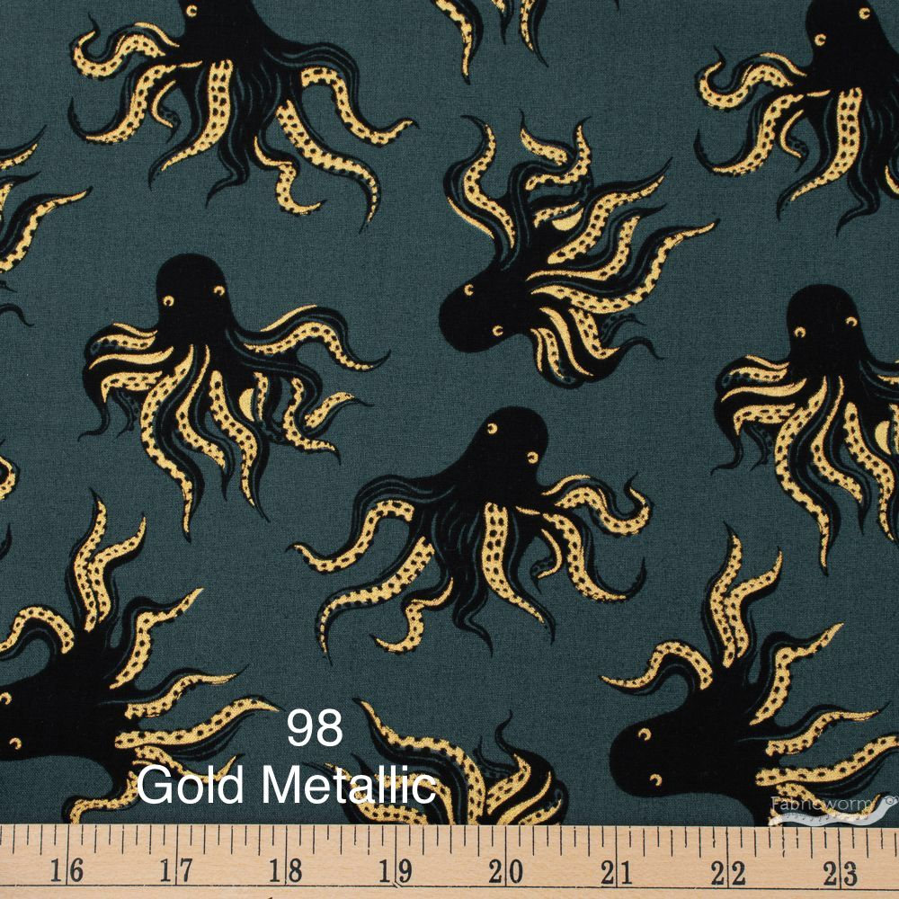 Cloth Face Mask - #98 Gold Metallic Octopus on Dk Gray