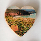 Mini Heart Magnets: Coastal, Succulent, and Nature - Hand-Transferred Photos on Wood, Various Images