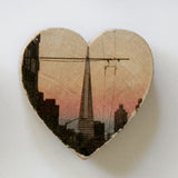 Mini Heart Magnets - Hand-Transferred Photos on Wood, Various Images