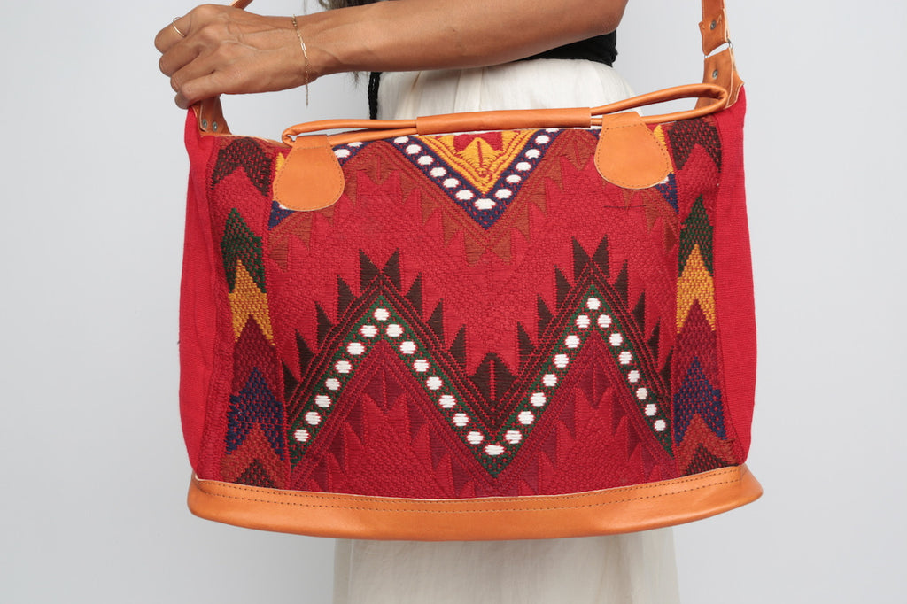 Hand Loomed Overnighter/ Red