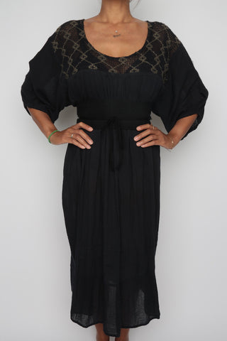 Gauze Summer Dress in Black