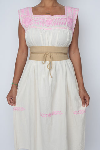 Traditional Mayan Summer Dress/ Pink