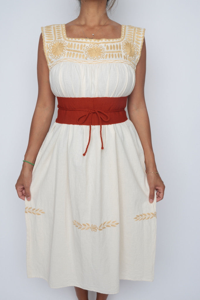 Traditional Mayan Summer Dress/ Beige
