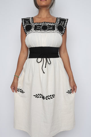 Traditional Mayan Summer Dress/ Black