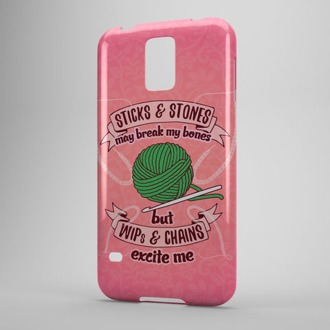 Sticks And Stones May Break My Bones But WIPs And Chains Excite Me (Crocheting) - Phone Cases - PINK