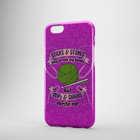 Sticks And Stones May Break My Bones But WIP's And Chains Excite Me ( Crocheting )- Phone Cases - PURPLE