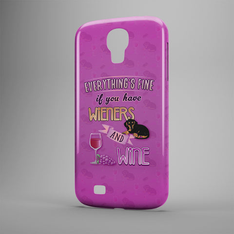 Everything's Fine If You Have Wieners And Wine - Phone Cases - Purple