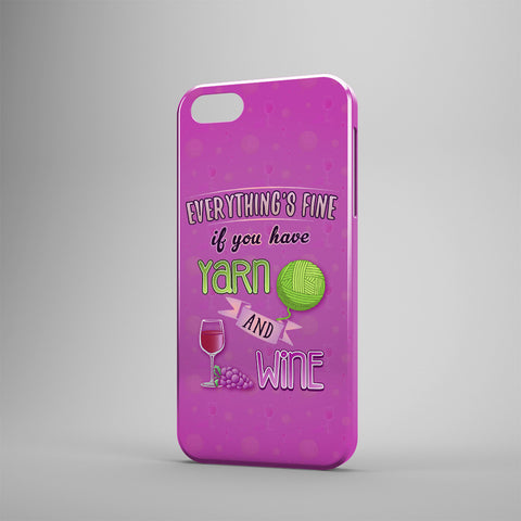 Everything's Fine If You Have Yarn And Wine - Phone Cases - Purple