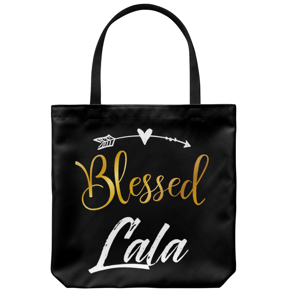 "Blessed Lala 18""x18"" Black Tote Bag"
