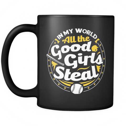 Softball Coffee Mug 11oz Black - Good Girls Steal - 5t8a-b17-mg