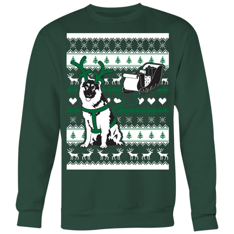 Christmas German Shepherd Pulling Sleigh - Ugly Christmas Sweater Shirt Apparel - c4rsw-5m05