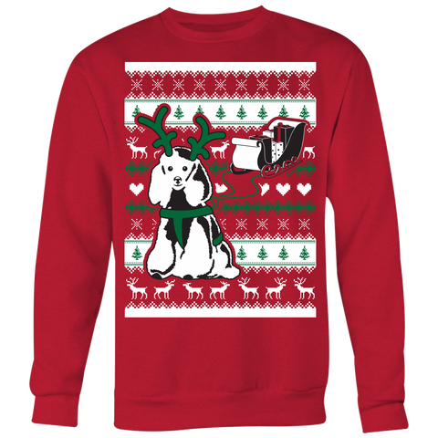 Christmas Poodle Pulling Sleigh - Ugly Christmas Sweater Shirt Apparel - c4rsw-5m08