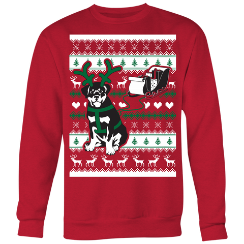 Christmas Rottweiler Pulling Sleigh - Ugly Christmas Sweater Shirt Apparel - c4rsw-5m06